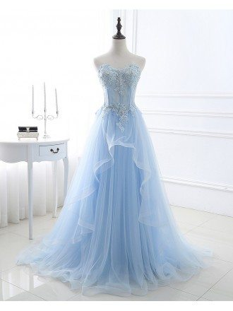 Custom Light Blue Wedding Dresses - GemGrace