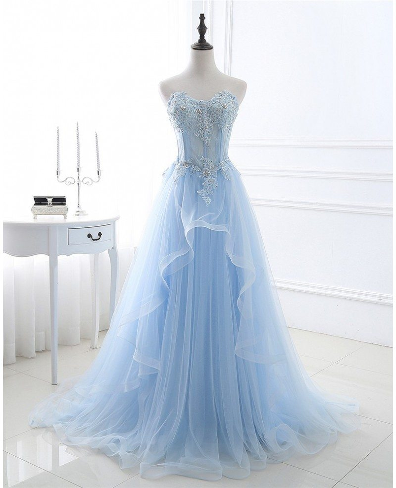 Blue Beaded Lace And Tulle Long Formal Dress Lg0320