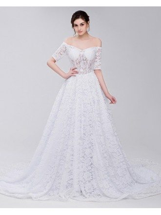 Gorgeous Full Lace Off Shoulder Wedding Dress