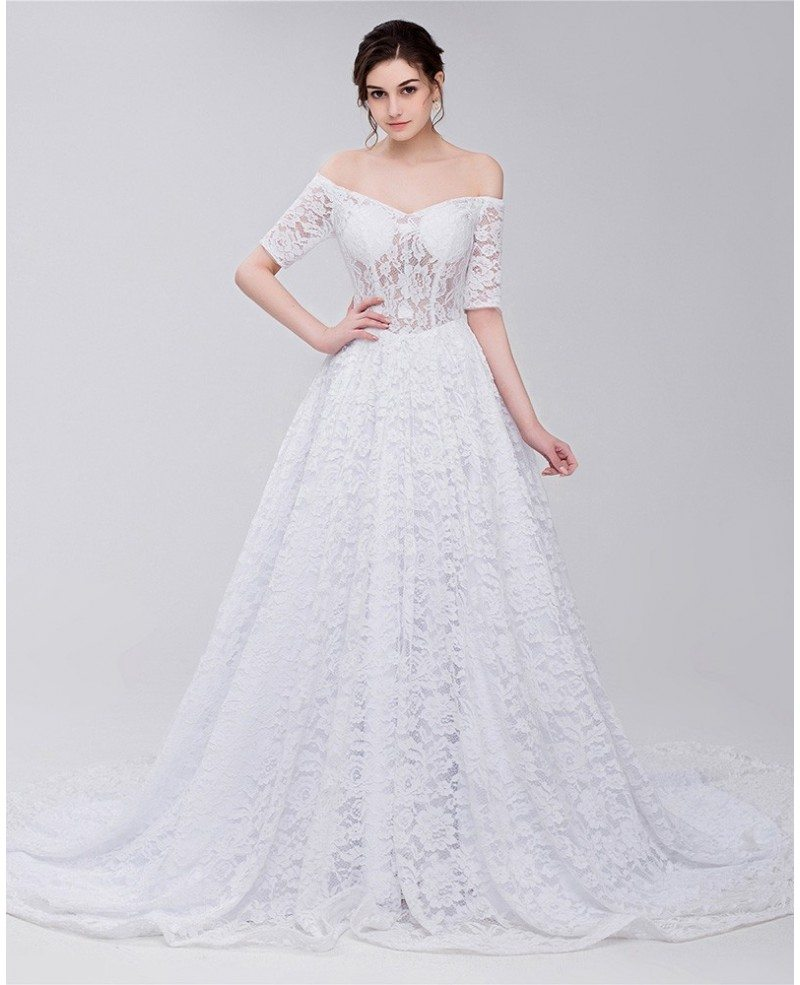 Gorgeous Full Lace Off Shoulder Wedding Dress #ID0092