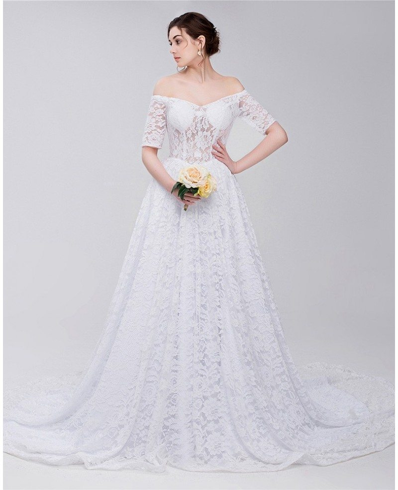 Gorgeous Full Lace Off Shoulder Wedding Dress #ID0092 - GemGrace.com