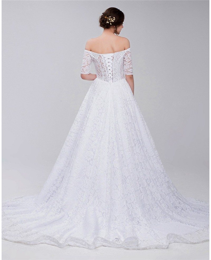 Gorgeous full lace off shoulder wedding dress id0092 for Lace shoulder wedding dress