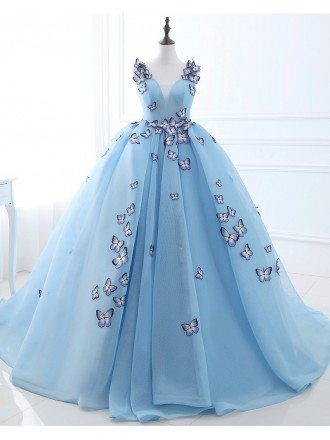 Formal Ballgown Tulle Prom Dress with Butterflies