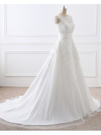 Lace and Tulle Sleeveless White Wedding Dress Two Wearing Styles