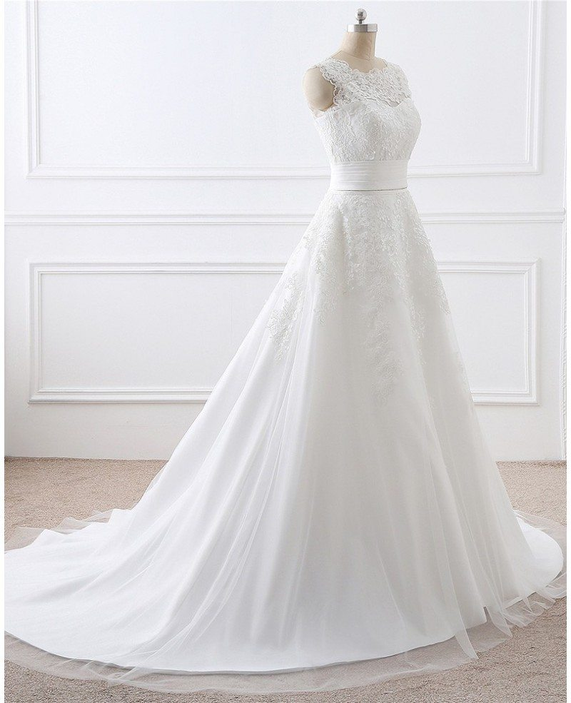 White Wedding Gown Styles: Lace And Tulle Sleeveless White Wedding Dress Two Wearing