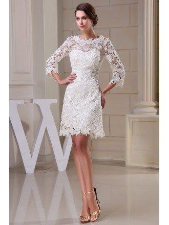 A-line High Neck Short Lace Wedding Dress