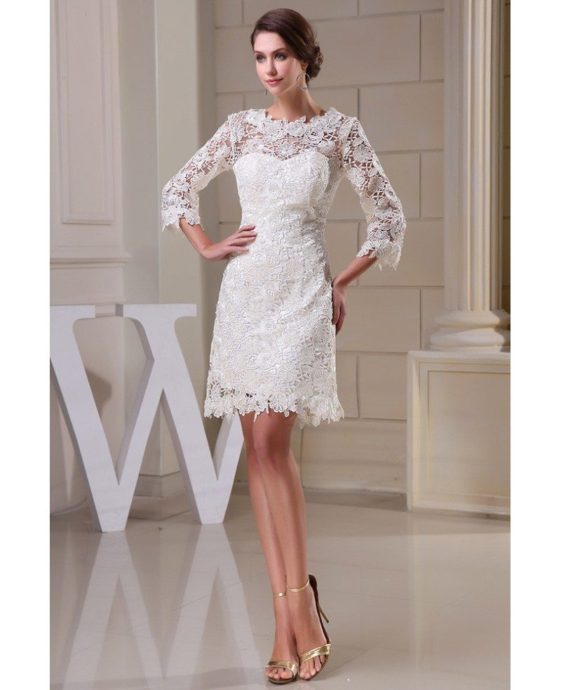 Lace Short Wedding Dresses With Sleeves For Reception A