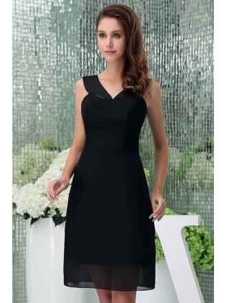 A-line V-neck Knee-length Chiffon Bridesmaid Dress