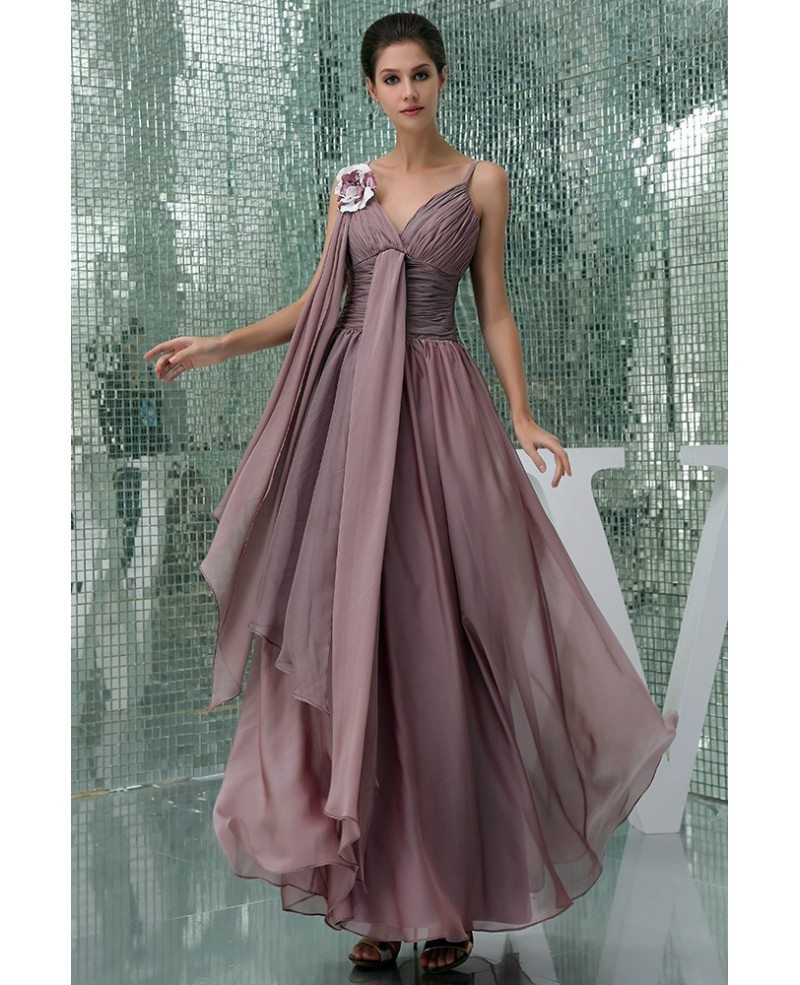 Chiffon Dressing Gown: A-line V-neck Floor-length Chiffon Prom Dress #OP5005 $155