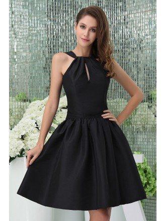 A-line High Neck Knee-length Satin Cocktail Dress