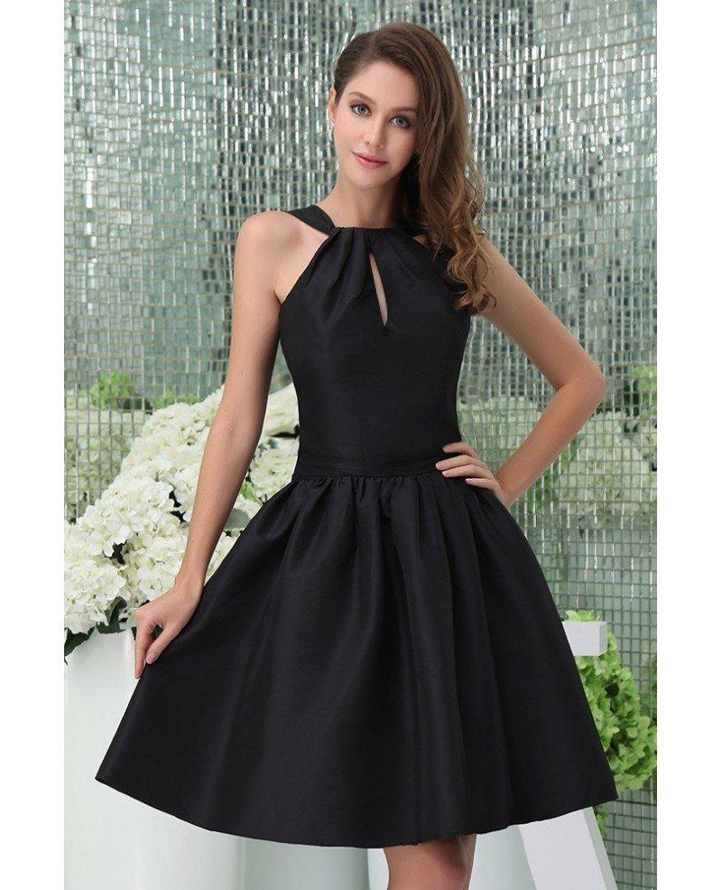 A-line High Neck Knee-length Satin Cocktail Dress #OP5007 $99 ...