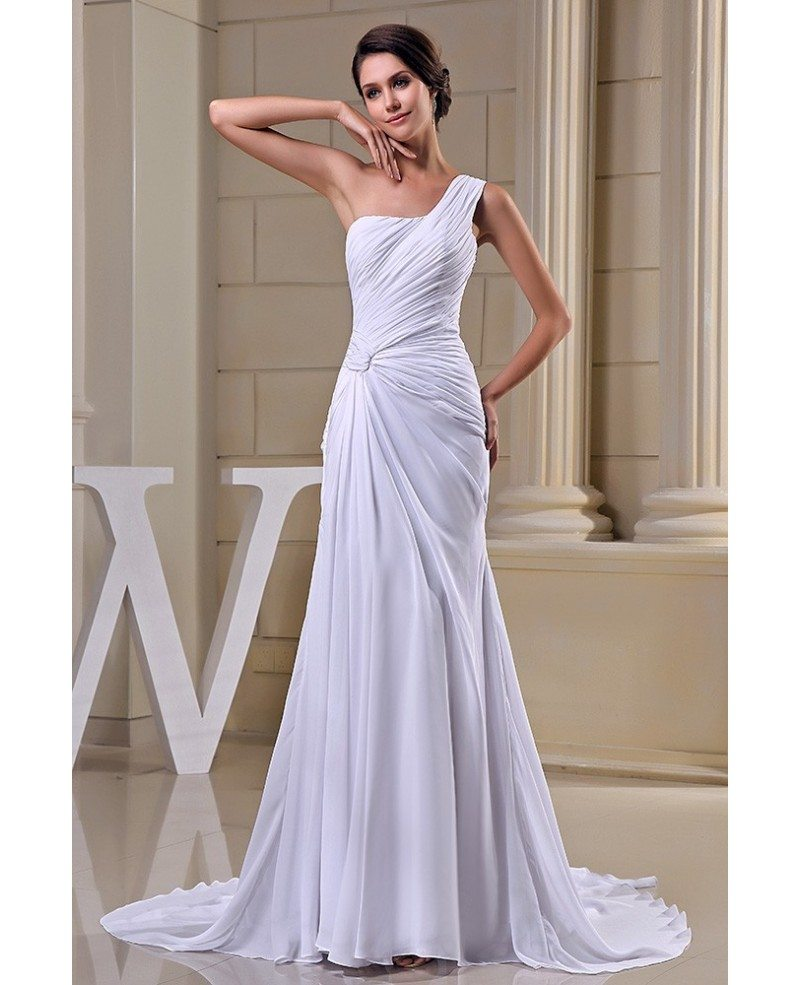 Sheath One-shoulder Sweep Train Chiffon Wedding Dress #OP5027 $155.6 ...