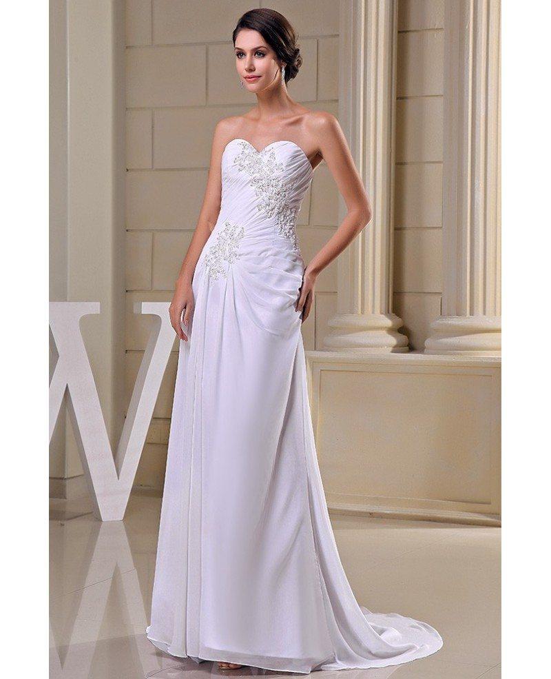 Sheath Sweetheart Sweep Train Chiffon Wedding Dress With