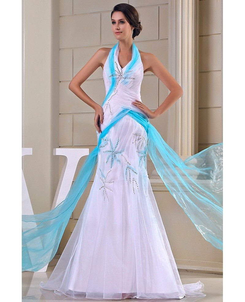Mermaid Cocktail Dress: Mermaid Halter Sweep Train Tulle Evening Dress #OP5033