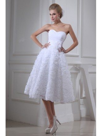 A-line Strapless Tea-length Tulle Wedding Dress With Flowers