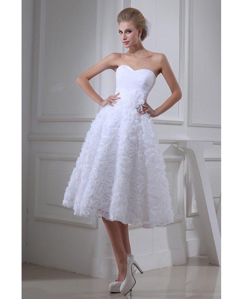 Strapless Tea Length Wedding Dresses A Line Tulle Style