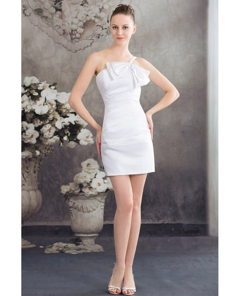 Ivory simple short wedding dresses satin reception sheath for Short sheath wedding dress