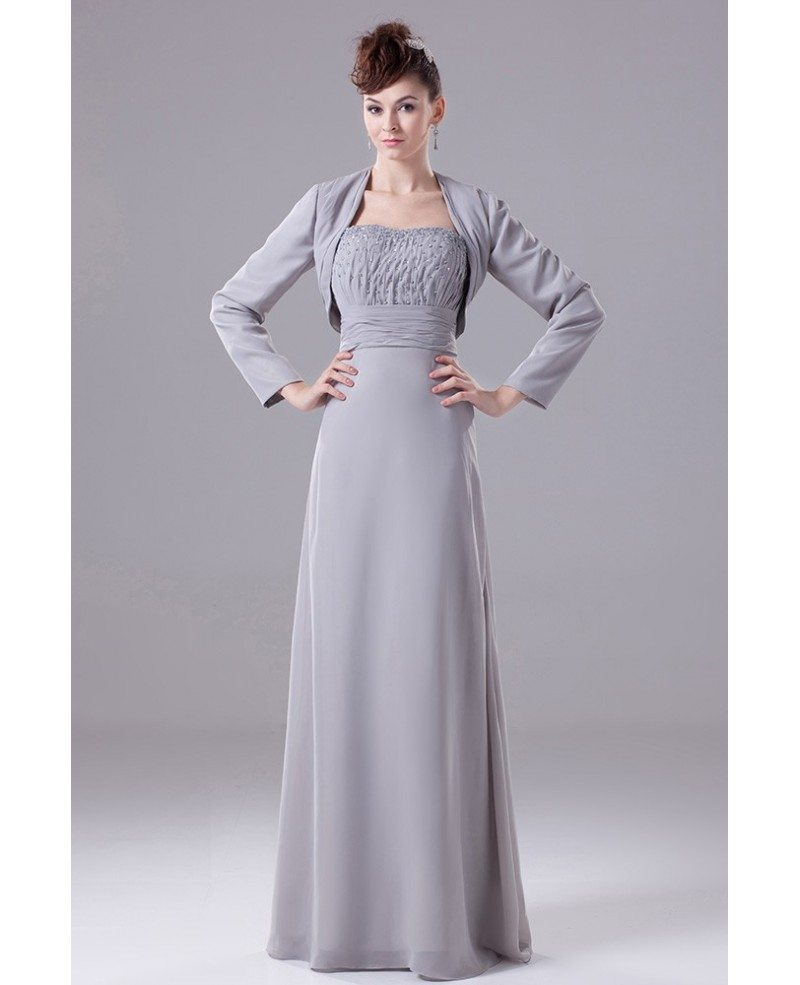 A-line Strapless Floor-length Chiffon Mother Of The Bride