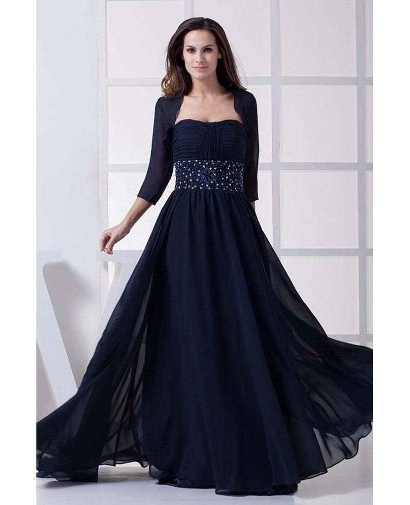 Navy Dark Blue Wandfarbe: Navy Blue Elegant Mother Of The Bride Dresses With Jacket