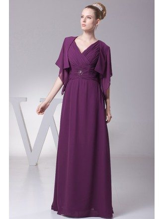 Simple Floor Length Pleated V Neck Grape Bridal Party Dress with Sleeve Jacket