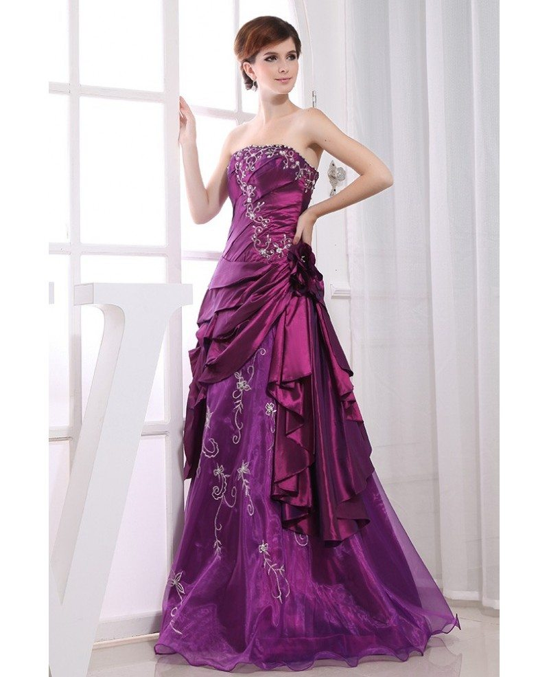 Purple Ball-gown Strapless Floor-length Satin Tulle