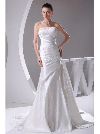 Sheath Strapless Court Train Satin Wedding Dress