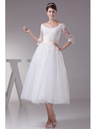 A-line Scoop Neck Tea-length Tulle Wedding Dress With Appliques Lace