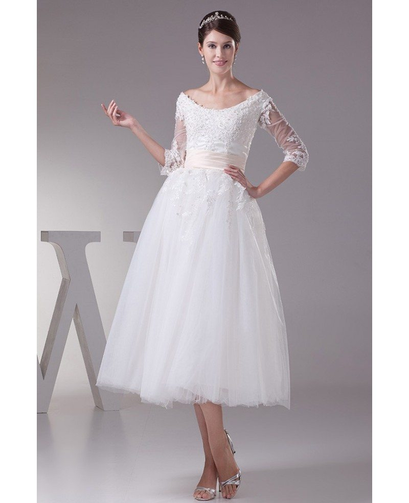 Tea length tulle wedding dress a line scoop neck with for Tulle a line wedding dress