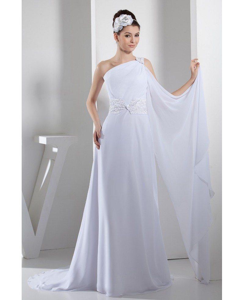 A-line One-shoulder SweepTrain Chiffon Wedding Dress With