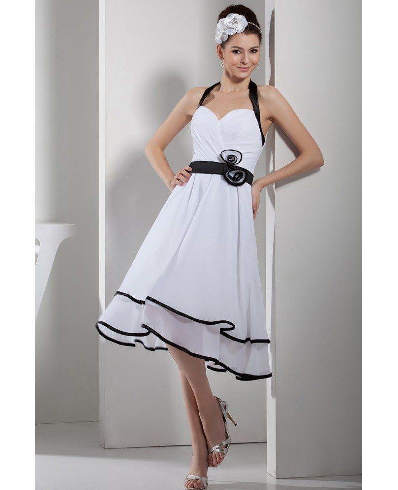 Halter Tea Length Wedding Dresses With Black Color Chiffon