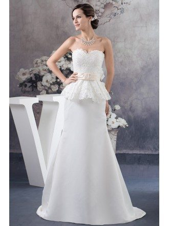 A-line Sweetheart Sweep Train Satin Wedding Dress With Lace