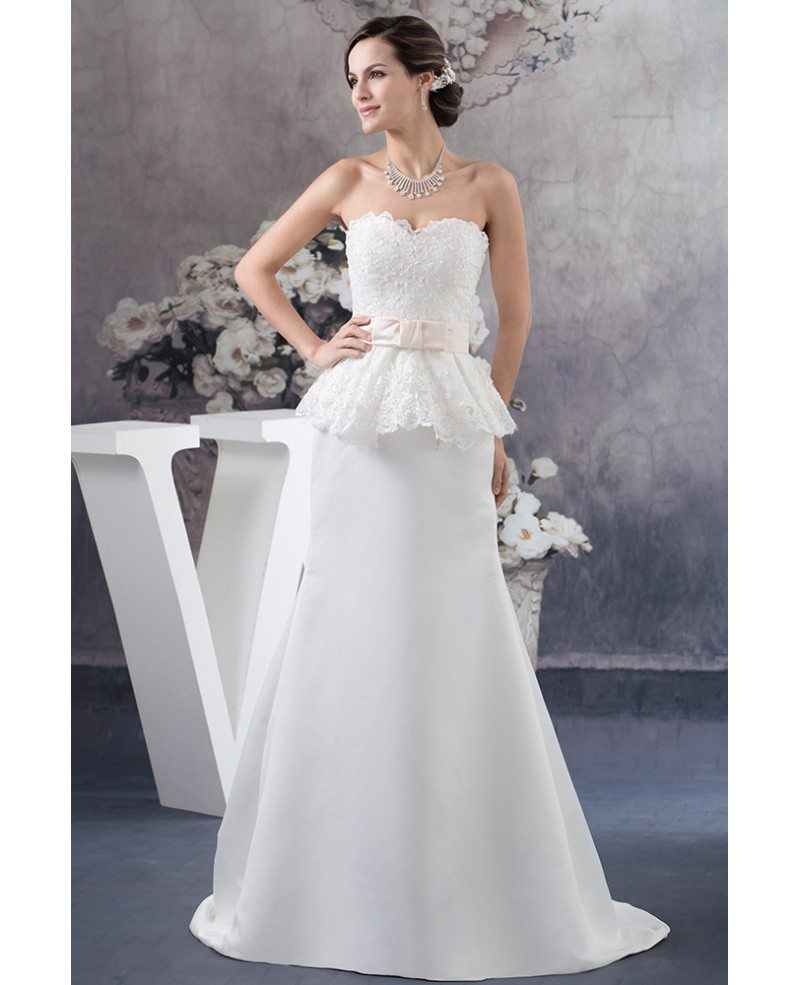 Sweetheart Lace Wedding Dress: A-line Sweetheart Sweep Train Satin Wedding Dress With