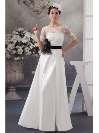 A-line Scoop Neck Floor-length Satin Wedding Dress With Appliques Lace