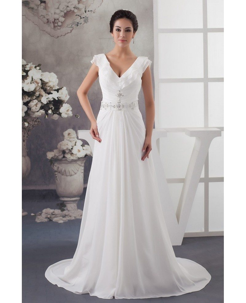 A line v neck sweep train chiffon wedding dress with for V neck a line wedding dresses