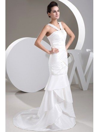 Mermaid Halter Sweep Train Satin Wedding Dress With Beading
