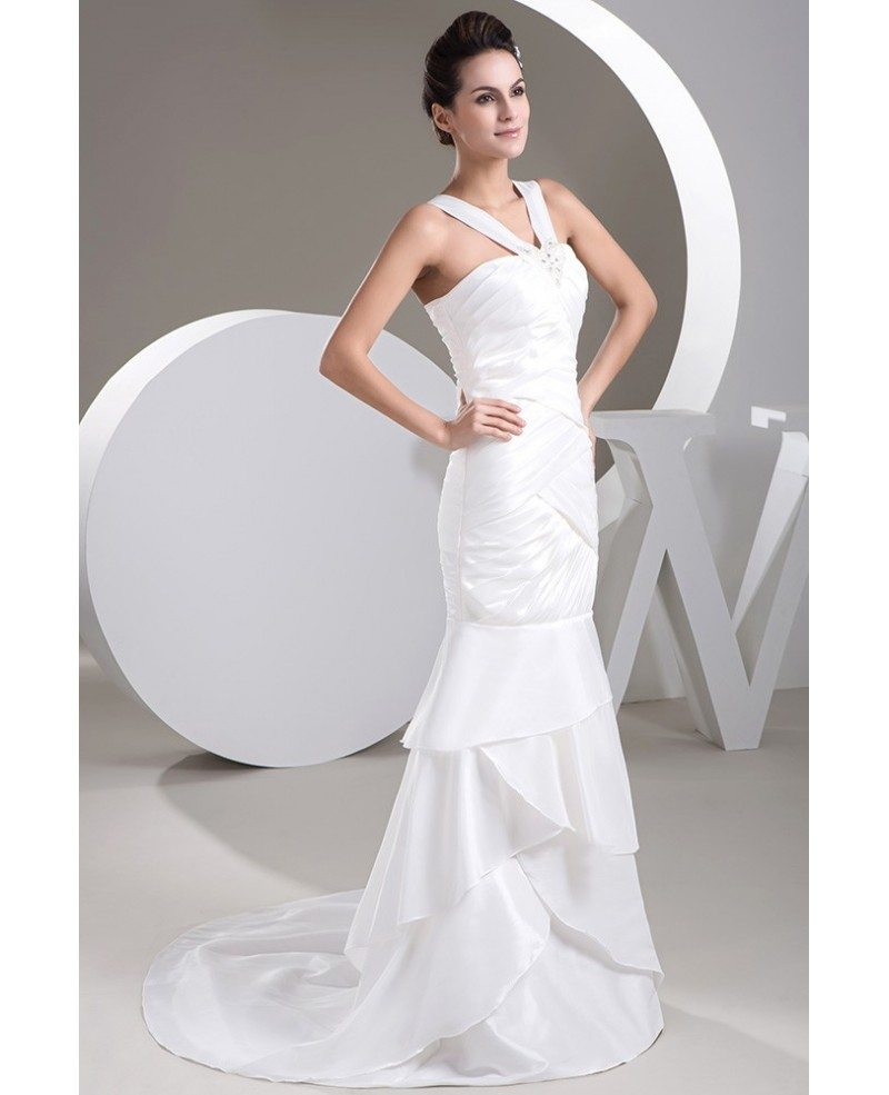 Mermaid halter sweep train satin wedding dress with beading op4809 165 2 for Mermaid halter wedding dresses
