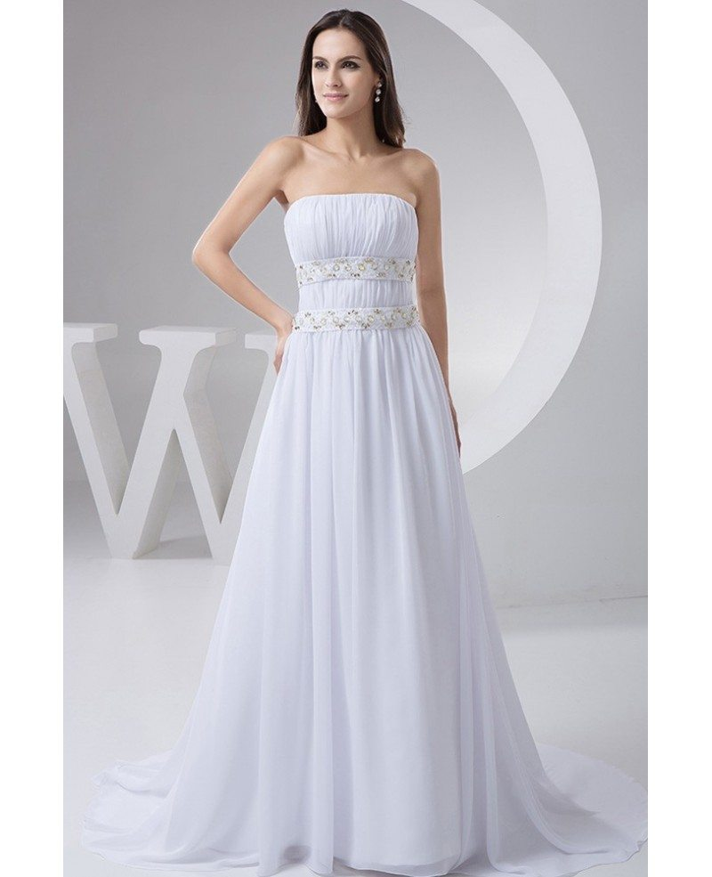 A line strapless sweep train chiffon wedding dress with for A line strapless wedding dresses