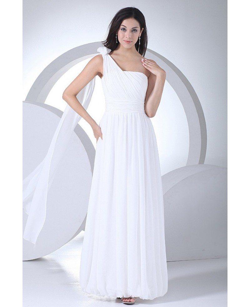 Chiffon Wedding Dresses: Chic One Strap Chiffon Floor Length Wedding Dress #OP4114