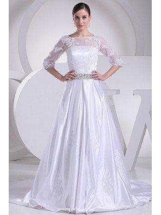 Modest Lace 3/4 Sleeves Beaded Satin Wedding Dress Custom