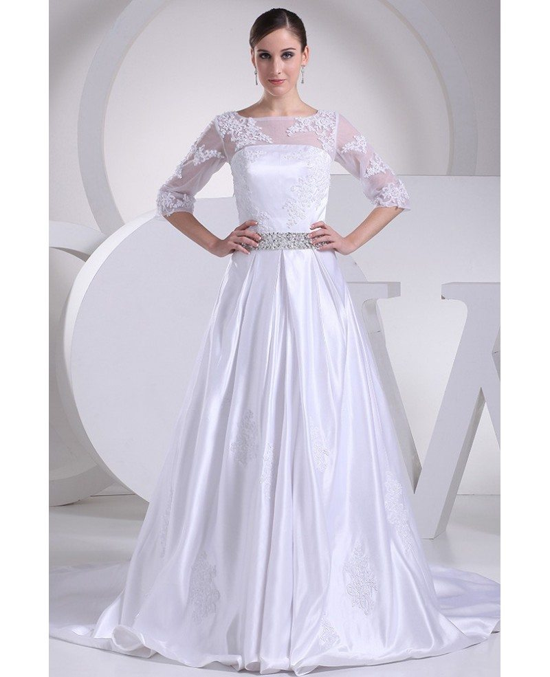 Modest Lace 3/4 Sleeves Beaded Satin Wedding Dress Custom #OPH1085 ...