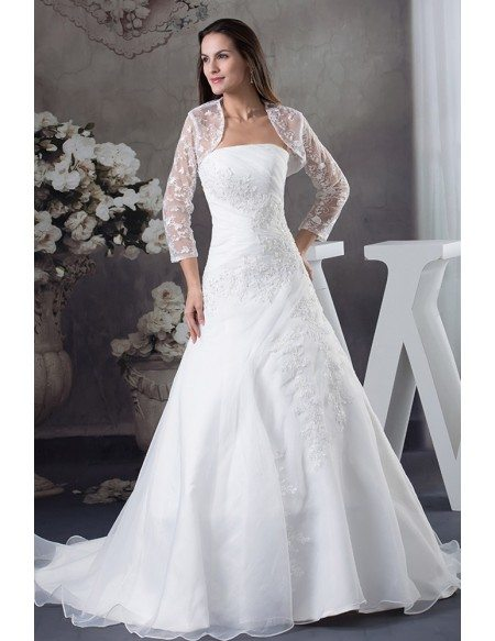 GRACE LOVE Strapless Organza Lace Wedding Dress With 3 4 Sleeves Jacket