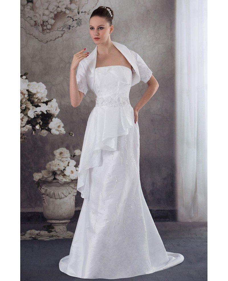 Taffeta Flowers Train Length Mature Wedding Dress With