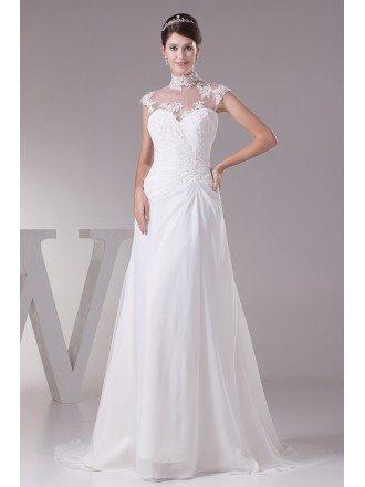 Elegant Long Halter Cap Sleeves Lace Chiffon Beach Wedding Dress