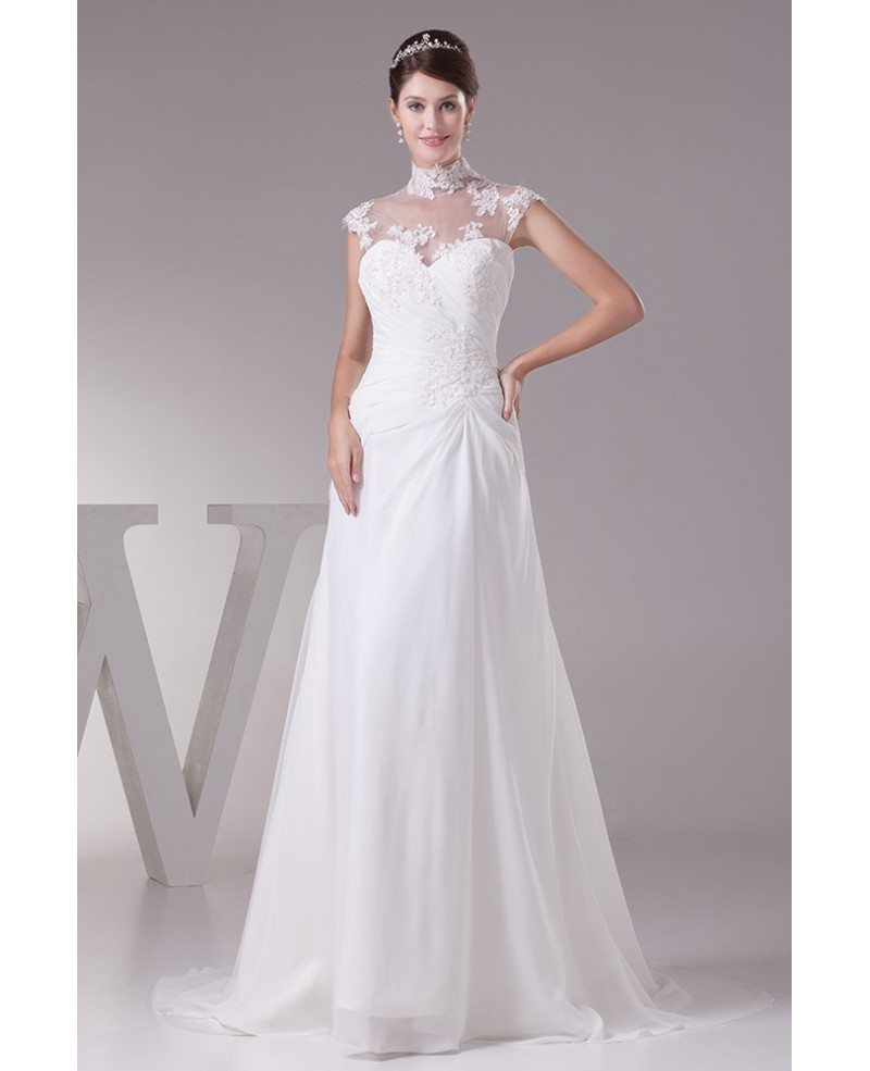 Elegant long halter cap sleeves lace chiffon beach wedding for Long sleeve chiffon wedding dress