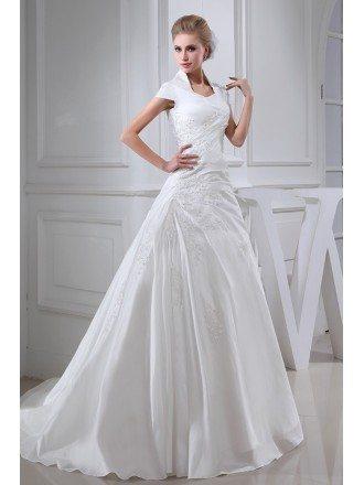 High Neck Taffeta Cap Sleeved Lace Wedding Dress