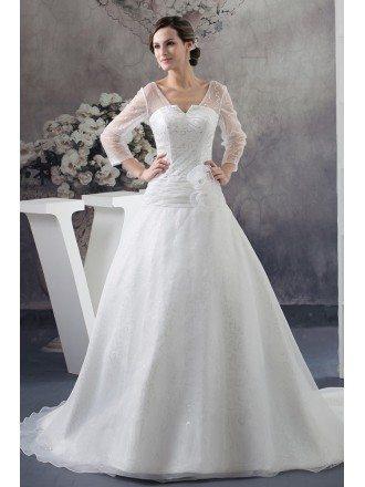 Sequined Three Quarter Sleeves Organza Ballgown Wedding Dress