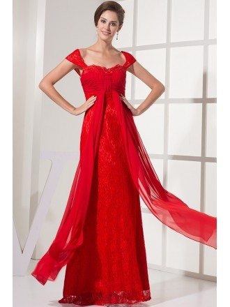 Cap Sleeves All Lace Hot Red Long Wedding Dress with Pleated Chiffon