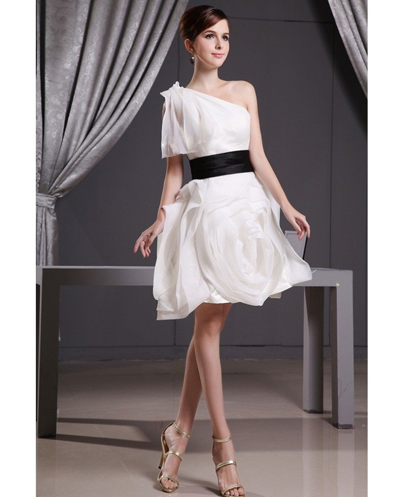 Modern White And Black Short Wedding Dresses A-line One