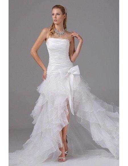 GRACE LOVE Pleated Organza Ruffles Cute Bow Sash Wedding Dress Short Front Long Back