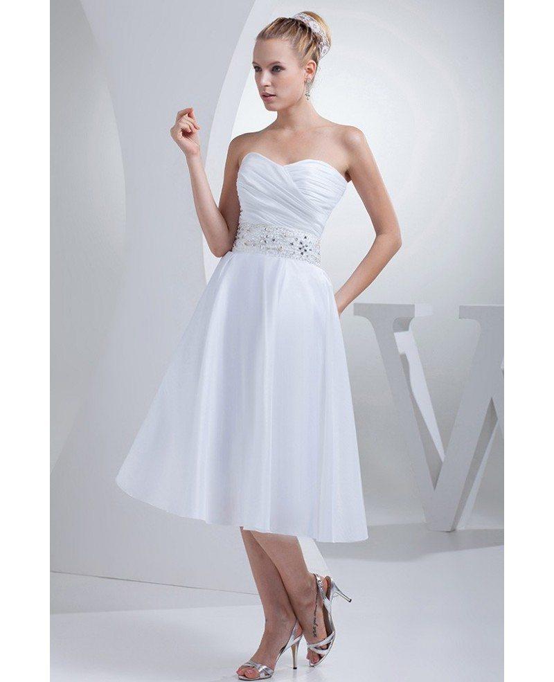 Simple Tea Length Wedding Dresses For Older Bride Beaded